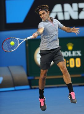 Federer with Pink Shoe laces
